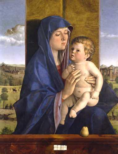 """Giovanni Bellini, """"Madonna col bambino"""",  anche detto """"Madonna di Alzano"""", 1488,  olio su tavola, 86 x 63 cm, Bergamo, Accademia Carrara"""